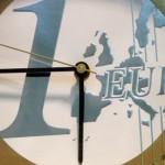 A clock with a euro coin face